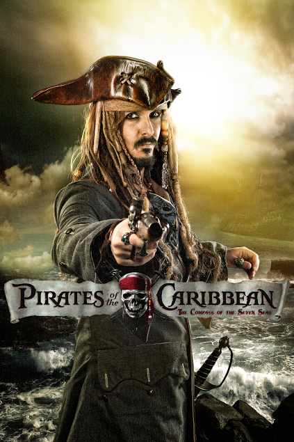 pirati caraibi jack sparrow sea mare compass seven seas locandina movie fan